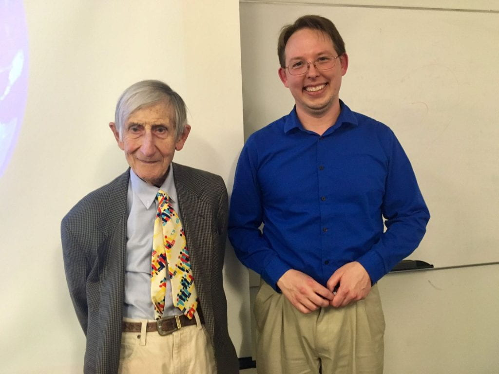 Freeman Dyson and me after my talk at UCSD
