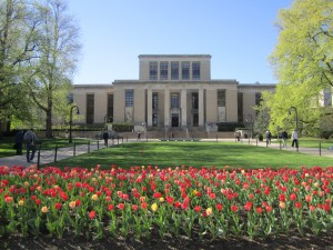 Spring view of Patee and Paterno Library from Library Mall - Penn State University