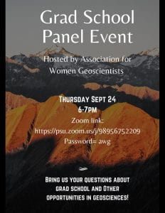Flyer for the Grad School Panel Event. Lists the zoom link for the meeting, and says to bring us your questions about grad school and other opportunities in geoscience