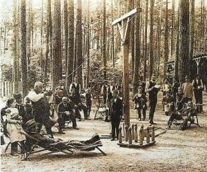 Picture of people playing skittles