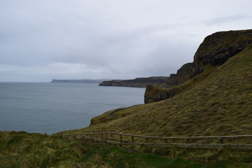 Walking the path on the way to the Carrick-a-Rede Rope Bridge