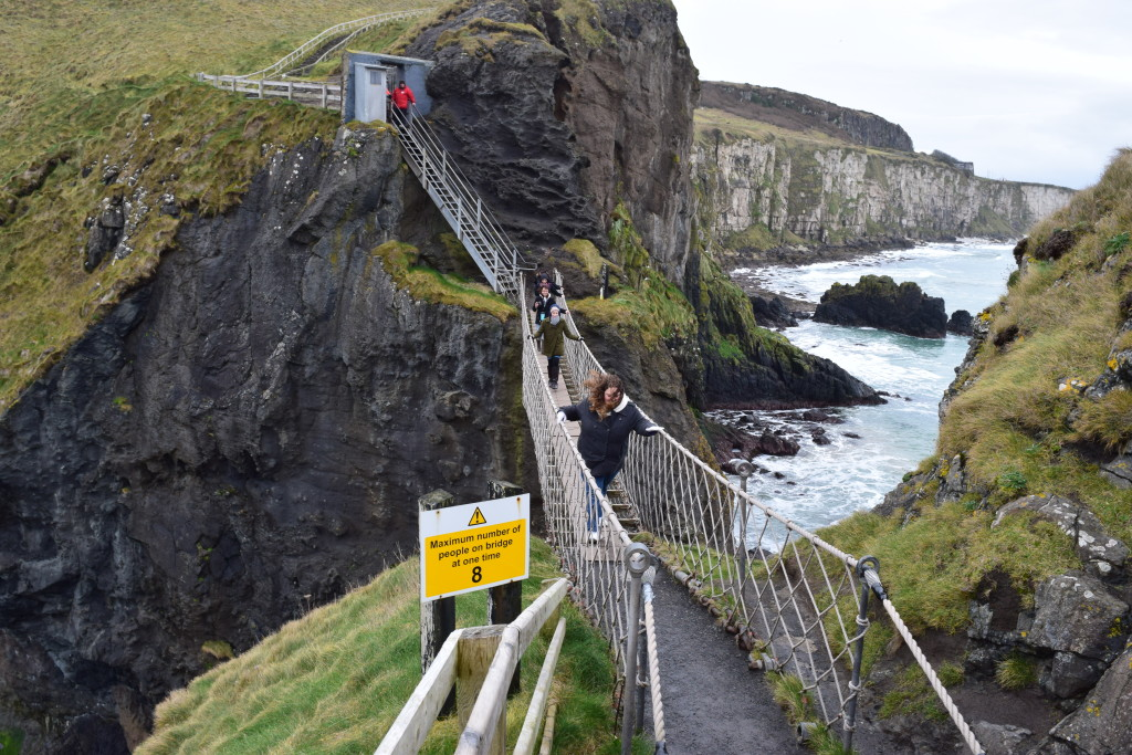 Students crossing the Carrick-a-Rede Rope Bridge