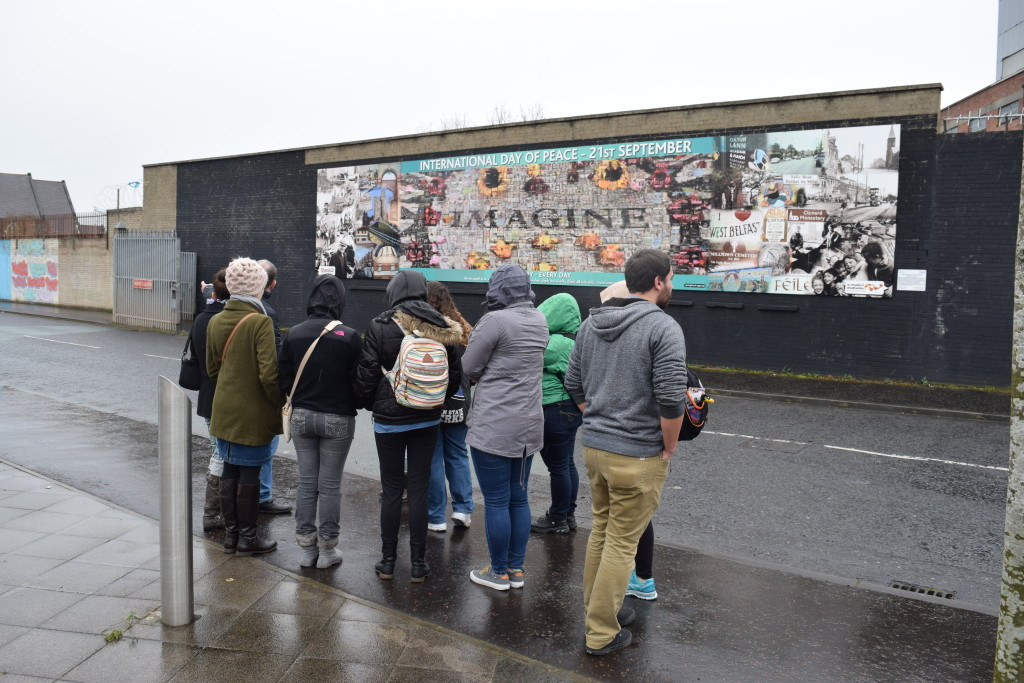 Penn State Berks students getting a tour of murals in Belfast, Ireland.