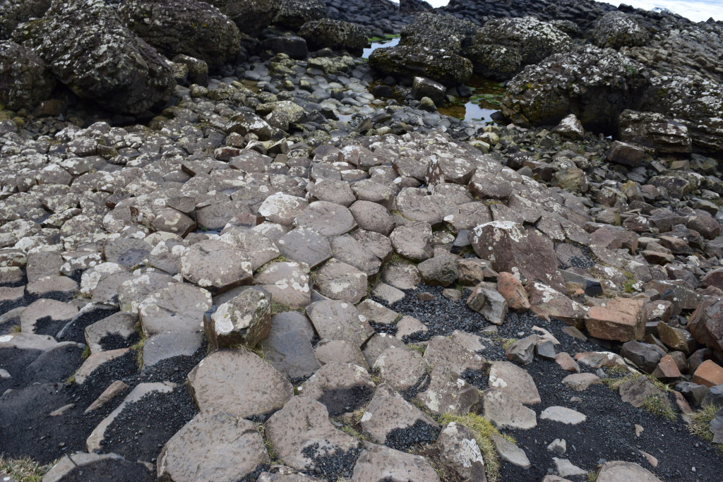 Unique rock formations at Giant's Causeway.
