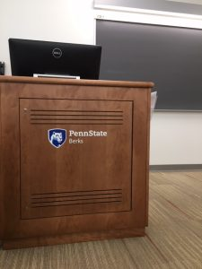 Picture of a classroom podium