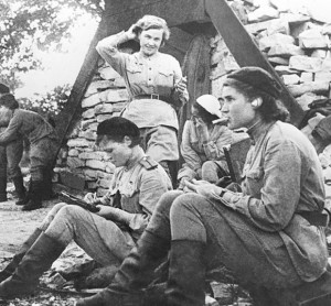 Night Witches taking a break, the woman standing is Nadia Popova.