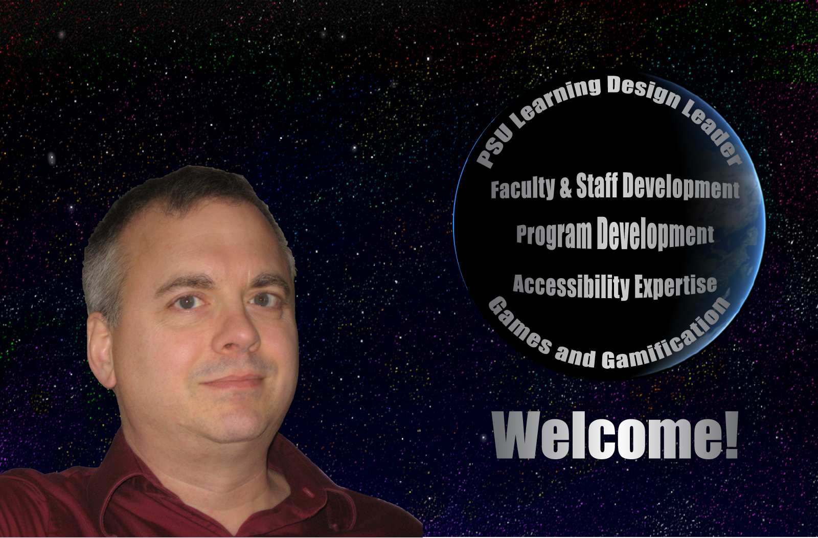 Brett Bixler's head. List of expertise. PSU Learning Design, program, faculty and staff development, accessibility, games and gamification.