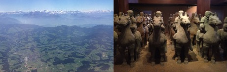 The view of Shanghai from the plane ride (left) and Terra Cotta Warriors and Horses in the Xuzhou Museum (right).  This is the only collection of terra cotta warriors that exist from the Han Dynasty.