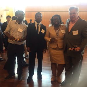 EmpowerSci Solutions members (from left to right) Kerry Belton, Archie Taylor, Melanie McReynolds and Competition Judge.