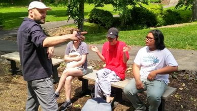 David met with students from Professor Love's fall installation class who will be assisting with the work this fall.