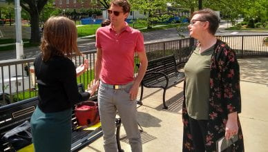 Lindsey Landfried, Amy Vashaw and Adam meet on the plaza in front of Eisenhower Auditorium.