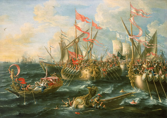 The Battle of Actium, depicting Octavius's forces against Antony and Cleopatra.