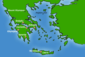 [23] A map of the Balkan Peninsula with several powerful city-states identified.