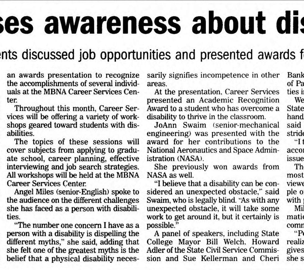 "Article in The Daily Collegian titled ""Forum raises awareness about disabilities"""