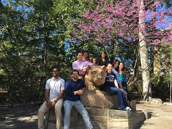 Lab members posing on the Nittany Lion shrine in Spring 2016.