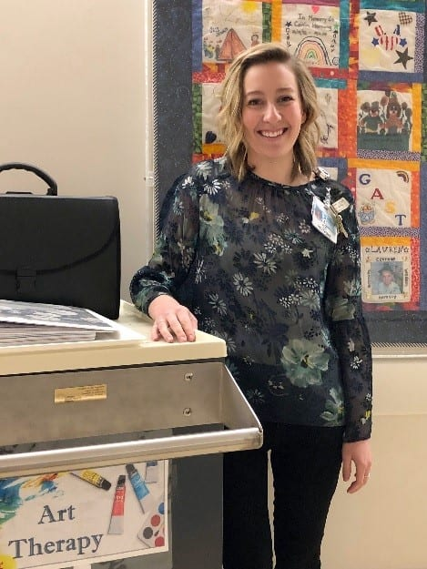 Art Therapist Alexis Lombardo, MA, ATR-P, joined Center Stage in 2018 to begin a growing art therapy program at Penn State Health.