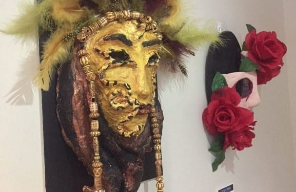One of the The outstanding art assignment creations of thirty students from Harrisburg High School, John Harris Campus, were chosen for an art display.
