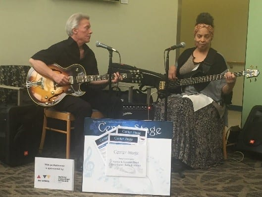 Spencer and Nancy Reed played jazz in the University Physician Center lobby.