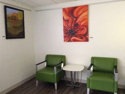 Art work hanging in a patient waiting area