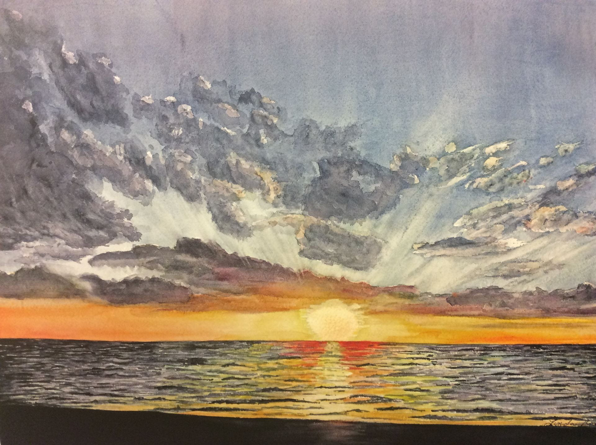 Painting created by by Linda Rose titled, Florida Sunset