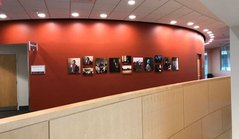 Community Art gallery on the Second floor of the Penn State Cancer Institute Outside Room T2500