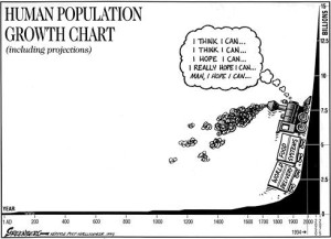 Human population as represented in this political cartoon (tying into the excess need for food)