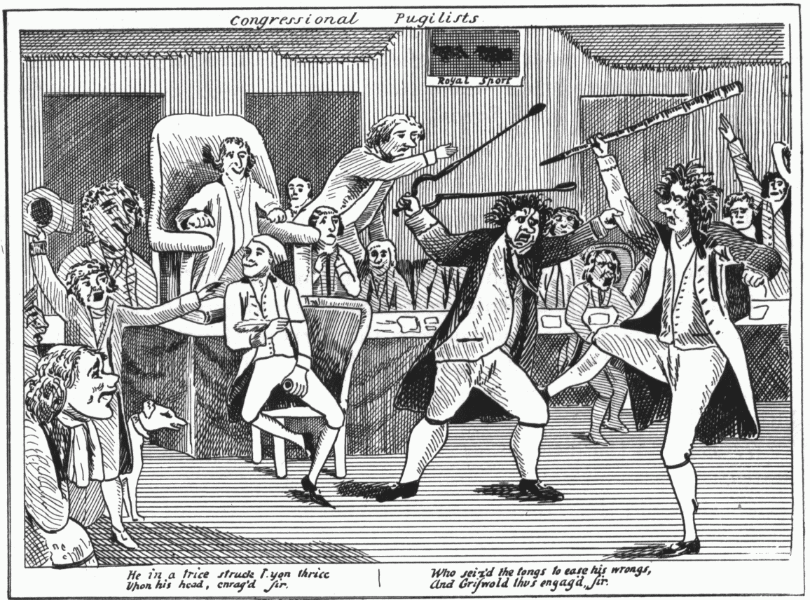A Political Cartoon Depicting The Federalists Vs Republicans In Congress