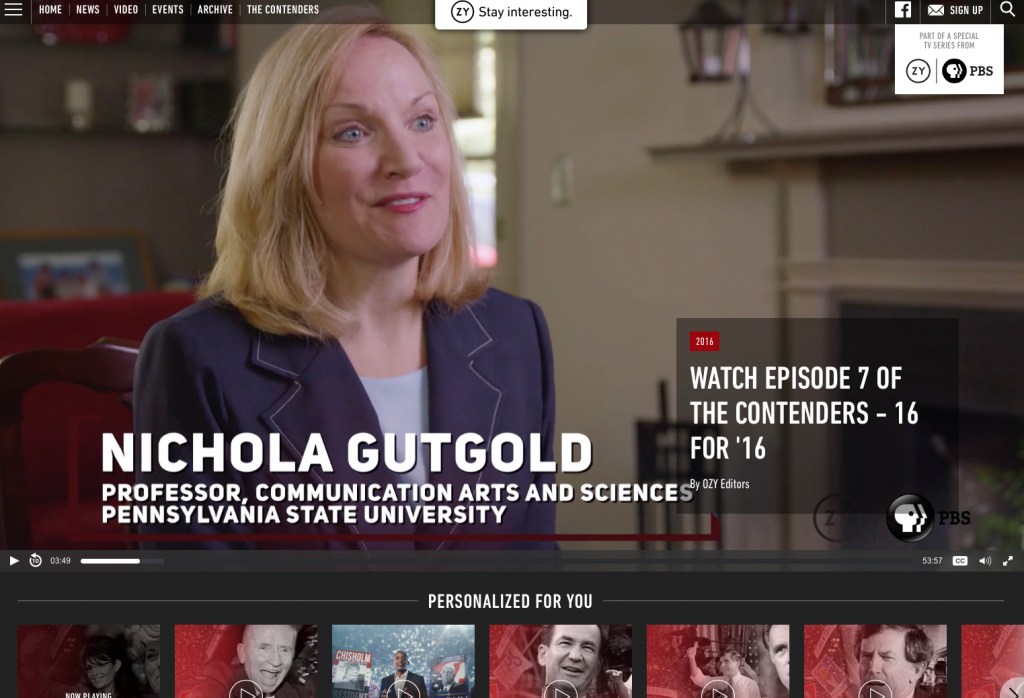 "A screenshot of Penn State Professor Nichola Gutgold on ""The Trailblazers."""