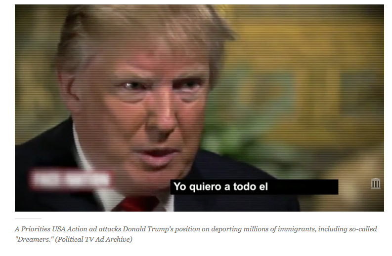 A screenshot of an ad by political action committee Priorities USA Action spotlighting Donald Trump's comments on deporting undocumented immigrant families.