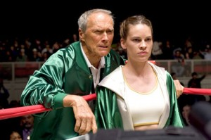Clint Eastwood and Frankie Dunn and Hilary Swank as Maggie Fitzgerald