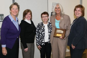 Pictured are, from left, Paula Milone-Nuzzo, dean, Penn State School of Nursing; Pam Spigelmyer, board member, Penn State Nursing Alumni Society; Kathi Terlinsky, president, Penn State Nursing Alumni Society; Kathy Mastrian; and Roberta Bradford, board member, Penn State Nursing Alumni Society.