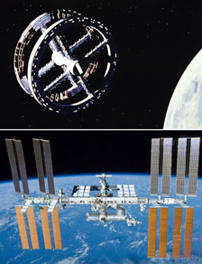 The space station from 2001 and the real International Space Station (https://www.nasa.gov/mission_pages/station/main/2001_anniversary.html#.VvAzaRorK1s)
