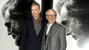 """HOLLYWOOD, CA - NOVEMBER 08: Actor Daniel Day-Lewis (L) and director/producer Steven Spielberg arrive at the """"Lincoln"""" premiere during AFI Fest 2012 presented by Audi at Grauman's Chinese Theatre on November 8, 2012 in Hollywood, California. (Photo by Kevin Winter/Getty Images For AFI)"""