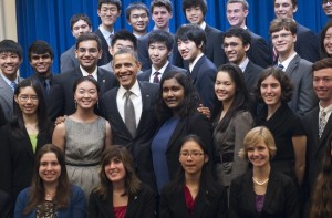 """President Obama with 2012 Intel Science Search Finalists"" Saul Loeb/Agence France-Pressee- Getty Images"