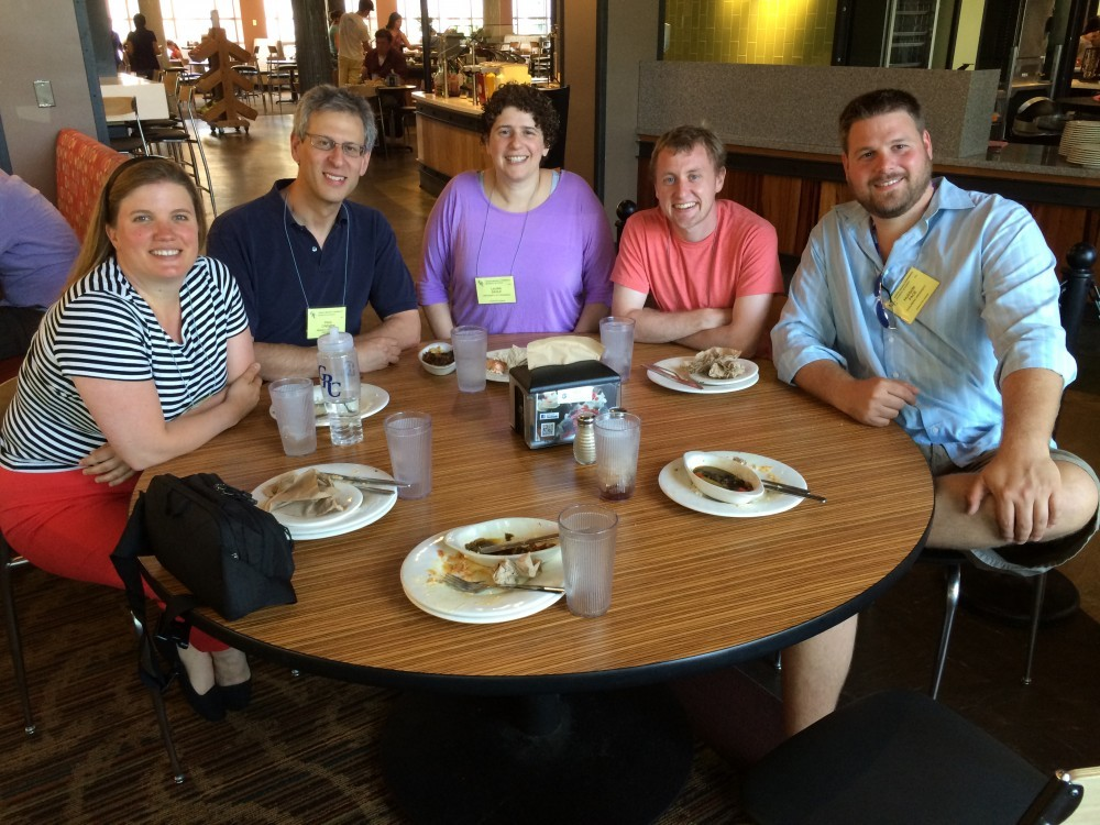 Dr Cremer and Matt met with former group member Prof. Susan Daniel (1st from left), Prof. Laura Sagle (3rd from left) and Dr. Hudson Pace (1st from right)