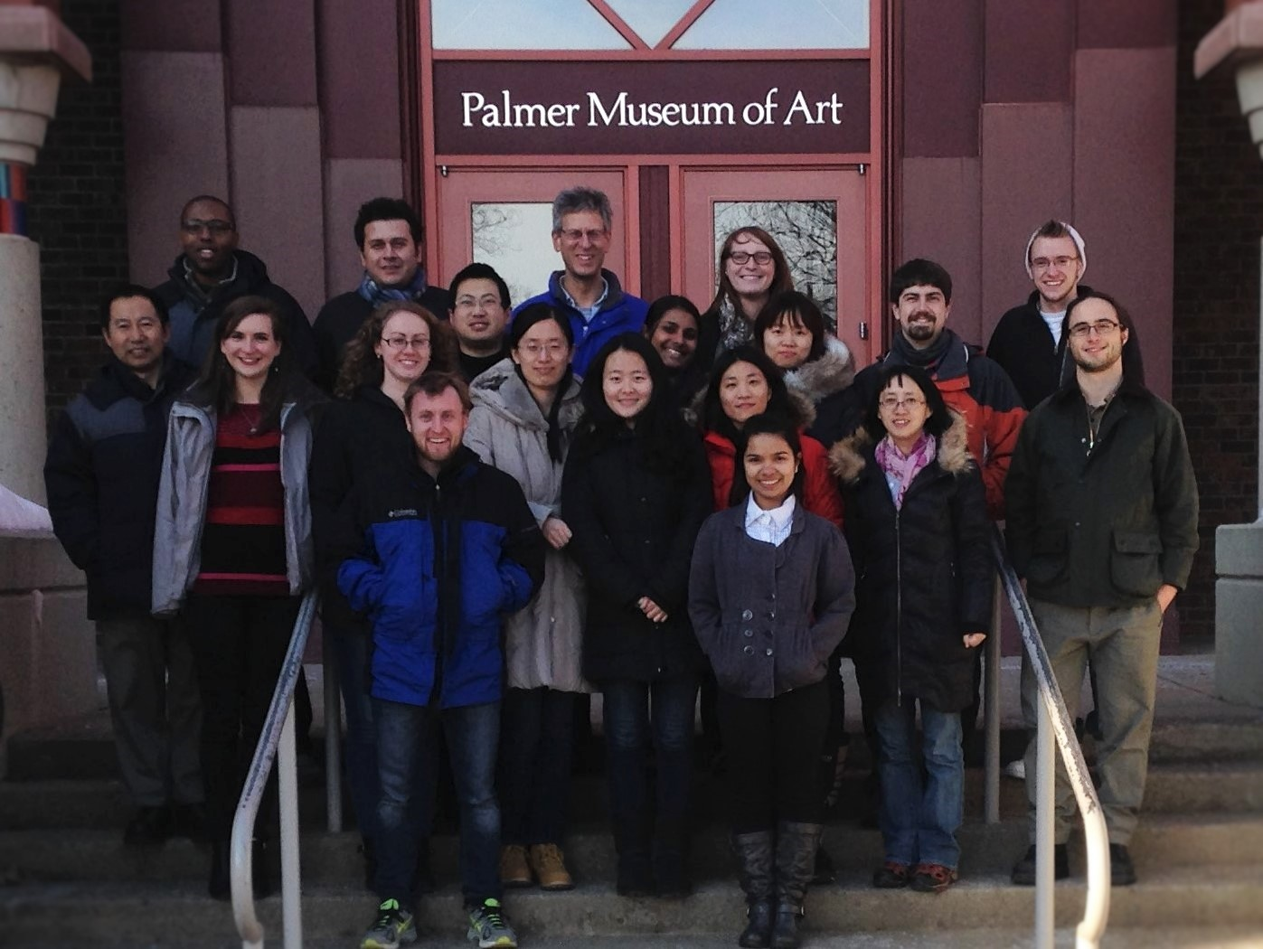 Cremer Group--Spring 2015 (Front row left to right: Matt Poyton, Emily Cribas; Second row left to right: Virginia Greenberger, Anne Sendeki, Xiao Cong, Simou Sun, Yi-Ting Liao, Xiangyi Huang, Brad Rogers; Third row left to right: Tinglu Yang, Yi Liu, Saranya Pullanchery, Seung-Yi Lee, Codey Henderson; Back row left to right: Kelvin Rembert, Halil Okur, Paul Cremer, Alexis Baxter, Blaise Pfaff