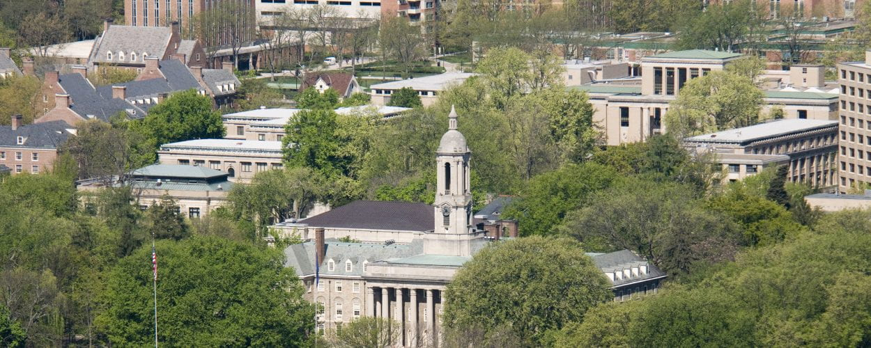Aerial view of Penn State Universities main administration building, Old Main.