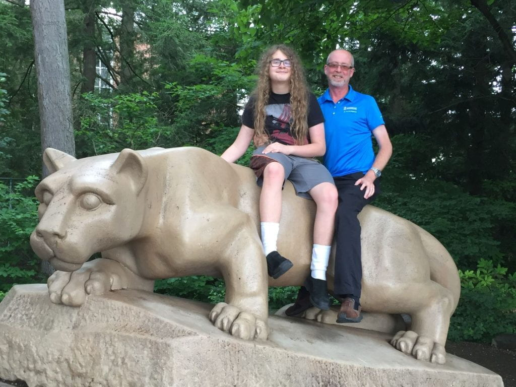 Steven Smith and son James, visiting Penn State in 2019