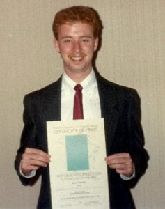 Steve Smith in 1990, with the ACSM Map Design Award