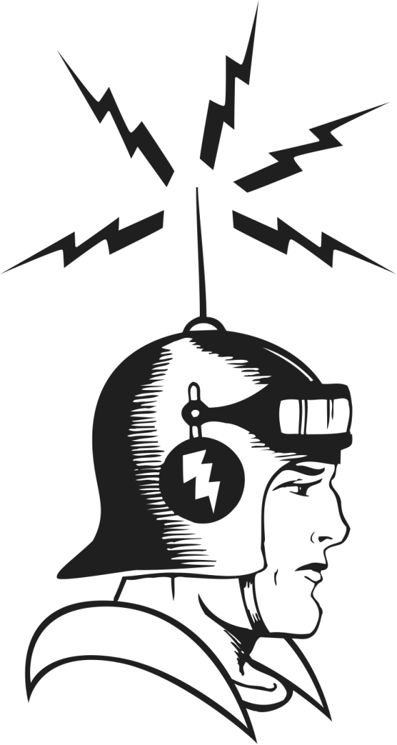 retro sci-fi person with antenna on helmet