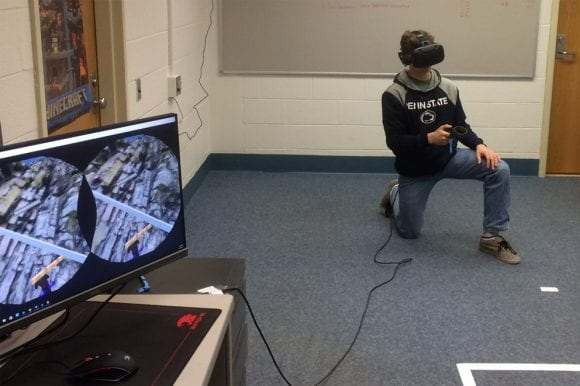 student uses HTC Vive