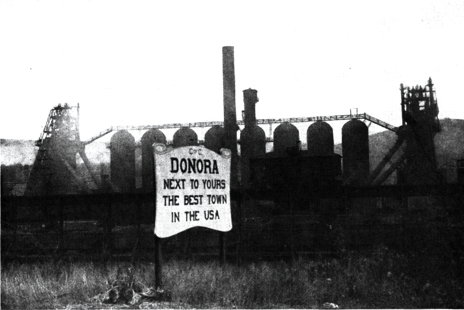 black and white photograph of Donora, Pa.