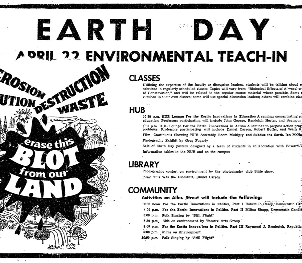 Earth Day advertisement, Daily Collegian, April 22, 1970.
