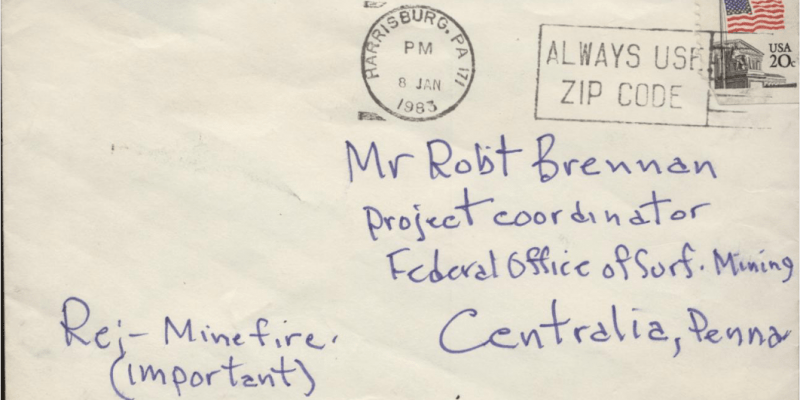 Anonymous letter to Robert J. Brennan concerning Centralia fire, mailing envelope