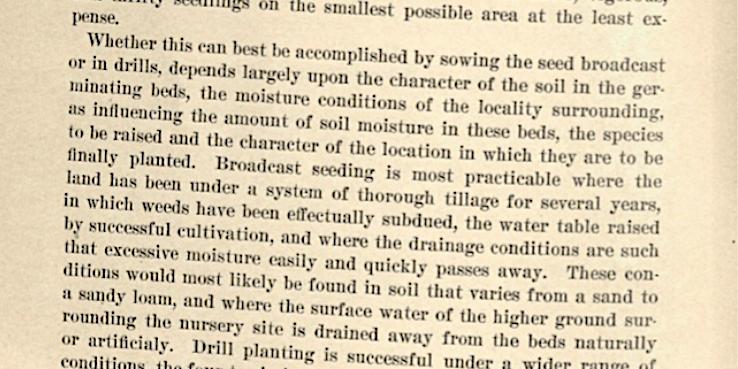 First page of Ralph E. Brock, Broadcast Sowing vs. Drill Planting