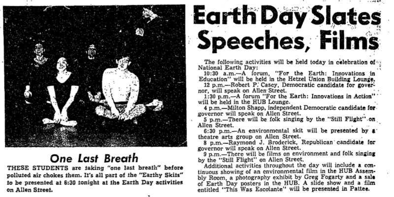 Earth Day notice, Daily Collegian, April 22, 1970