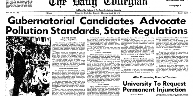 Daily Collegian front page, April 23, 1970