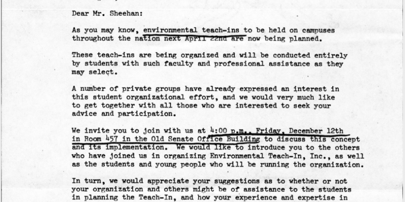 Correspondence from Environmental Teach-In Committee to Jack Sheehan, December 6, 1969
