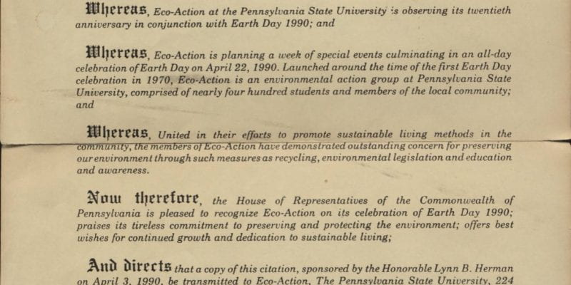 Citation from the Commonwealth of Pennsylvania House of Representatives