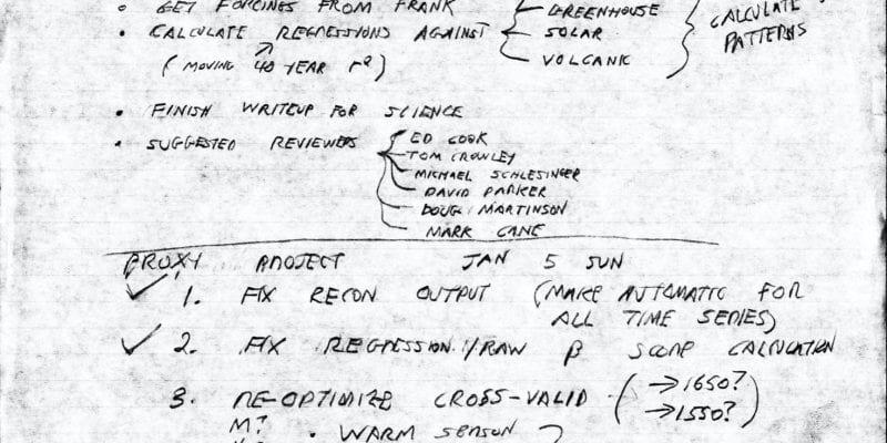 Notes for proxy project, Michael Mann, 1997-1999